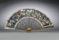 This delicate and extremely rare Chinese export silver-gilt and enamel fan embodies the pinnacle of the exquisite objects made for Western audiences . Antique Fans, Vintage Fans, Vintage Accessories, Vintage Jewelry, Fashion Accessories, Hand Held Fan, Hand Fans, Chinese Fans, Fan Decoration