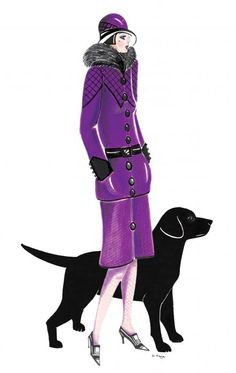 Art Deco Lady--Moira with her dog, Tess by artist, Di Kaye (Painting - Watercolour)
