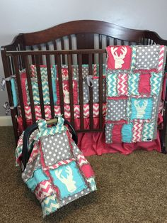 Girl+Crib+Set+Stag+Head+Deer+Silhouette+pink+grey+gray+turquoise+with+baby+quilt+and+car+seat+canopy+%282%29.jpg (1200×1600)