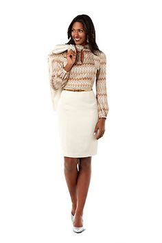 Look good in ivory with a Winter White #Blazer, Zig Zag #Blouse, and Ivory Pencil #Skirt