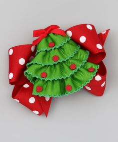 Another great find on #zulily! Christmas Tree & Red Polka Dot Bow Clip Set #zulilyfinds