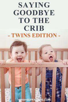 Here's how to transition twins from cribs to toddler beds without going completely insane. I told my sister she was CRAZY to move her 14-month-old firstborn son from his crib to a toddler bed, but he was putting his leg up on the crib rail and she feared he would climb over and fall. IContinue Reading Toddler Twins, Twin Toddlers, Toddler Sleep, Baby Sleep, Crib Tent, Crib Rail, Four Kids, Sleep Sacks, Work From Home Moms