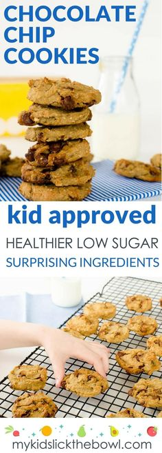 healthy chocolate chip cookies, A chewy chickpea cookie recipe your kids will love, low sugar, easy to make with banana and oats