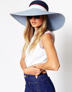 Image 1 of ASOS Straw Floppy Hat In Color Block Asos Hats a53fcb71fc36