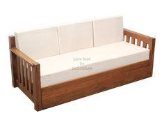 Classic style pull out sofa cum bed made in solid teak Sofa Cumbed, Air Sofa Bed, Buy Sofa, Wooden Couch, Wood Sofa, Teak Wood, Pull Out Sofa Bed, Sofa Bed Design, Modern Sofa Designs