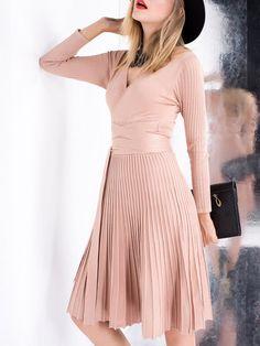 Khaki A-line Casual V Neck Mini Dress
