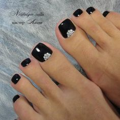 Black Toe Nails, Pretty Toe Nails, Cute Toe Nails, Pretty Toes, My Nails, Gel Toe Nails, Toe Nail Color, Toe Nail Art, Nail Colors