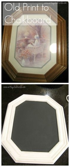 Old Picture to Chalkboard artsychicksrule.com #chalkpaint #chalkboard I have a bunch of old pictures to do this with!!