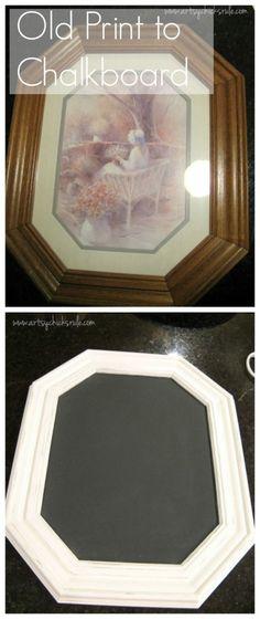 Old Picture to Chalkboard artsychicksrule.com #chalkpaint #chalkboard