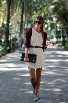 white dress, burgundy cardigan, glitter flats