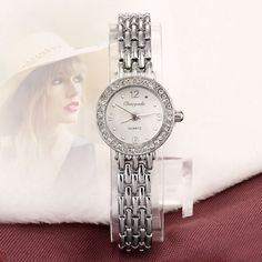 2017 New Arrive Fashion and casual Ladies watches Silver bracelet Luxury crystal watch OEM Round ultra slim dress Quartz watches #Affiliate