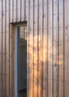 untreated larch board on board cladding - Highlever Road - Haptic Wood Cladding Exterior, Larch Cladding, Wooden Cladding, Wooden Facade, Timber Slats, House Cladding, Victorian Buildings, Victorian Homes, Garden Studio