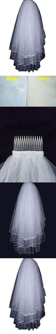Lilibridal 3 Layer Beading Short Tulle Pearl Wedding Bridal Veil With Comb Cheap LLB091