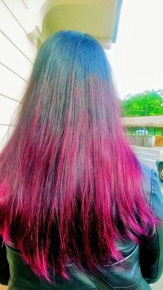 Black Purple Red Ombre Hair