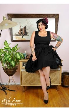 Lana Cocktail Dress in Black Canvas - Plus Size | Pinup Girl Clothing