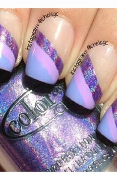 purple solid and glitter nails half French