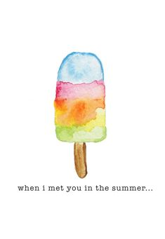 Popsicle watercolor Valentine's Day card from Etsy