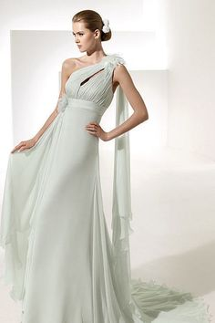 2012 Collection Sheath/Column One Shoulder Sweep/Brush Train Chiffon