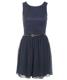 Navy Belted Lace Skater Dress