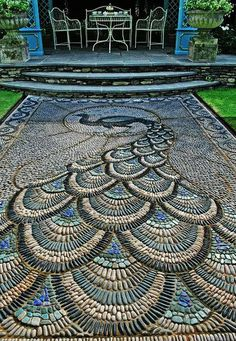Mosaic Peacock Garden Patio