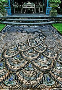 Mosaic Peacock Garden Patio