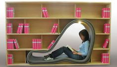 10 Amazing Chairs for Book Lovers | Design on GOOD. Me want ... except, you know, with real books on the shelves.