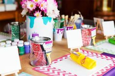Use bright colors to make an art party really pop!