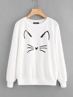 SHEIN Cartoon Cat Print Sweatshirt Pullovers Women White Long Sleeve Autumn New Fashion Casual Women Sweatshirts Sweatshirts Online, Printed Sweatshirts, Hoodies, Hoodie Sweatshirts, Mode Outfits, Casual Outfits, Fashion Outfits, Women's Fashion, Kawaii Clothes