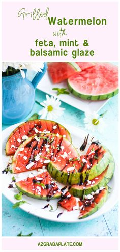 Grilled Watermelon with Feta, Mint, and Balsamic Glaze makes a lovely appetizer for a summer meal. Grilled Watermelon with Feta, Mint, and Balsamic Glaze is a fresh and fruity appetizer you'll love!