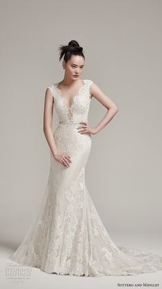 sottero midgley fall 2016 bridal cap sleeves scallop deep plunging v neckline full embellishment gorgeous elegant sexy fit and flare mermaid wedding dress sheer low back sweep train (wyatt) mv