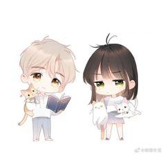 Cute Chibi Couple, Cute Couple Cartoon, Anime Love Couple, Cute Cartoon Drawings, Cartoon Girl Drawing, Cute Anime Chibi, Cute Anime Pics, Anime Couples Manga, Manga Anime