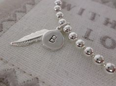 Silver Plated Remembrance Memorial Bracelet with Sterling Silver Personalised Initial Charm, In Memory of someone special - pinned by pin4etsy.com