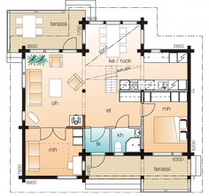 Kontio Ähtäri C, kerros 1 Cottages, Floor Plans, House, Cabins, Country Homes, Home, Cottage, Homes, Floor Plan Drawing