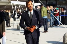 striped suit, leather gloves. mens style and fashion