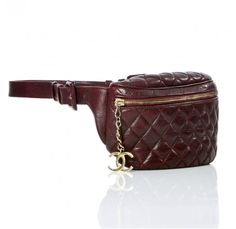 Chanel Vintage Burgundy Quilted Lambskin Retro Pouch Fanny Pack