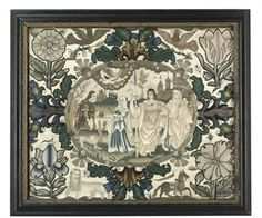 A CHARLES II NEEDLEWORK AND BEADWORK PICTURE  ca. 1660-1675