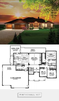 Tour the Branhill Craftsman Style Home that has 3 bedrooms, 2 full baths and 1 half bath from House Plans and More. Round House Plans, Free House Plans, House Layout Plans, House Plans And More, Family House Plans, Craftsman Style House Plans, Modern House Plans, Modern House Design, Craftsman Decor