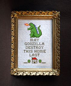 Hey, I found this really awesome Etsy listing at https://www.etsy.com/listing/259278564/may-godzilla-destroy-this-home-last