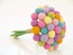 Felt Wedding Bouquet Craspedia Flowers Silk by FairyfolkWeddings