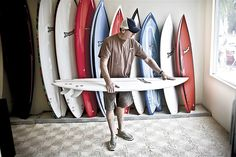 Tim Bessell of Bessell Surfboards, San Diego CA (Portrait of an American Craftsman by Tadd Myers) American Craftsman, Surfboards, Wardrobe Rack, Shoe Rack, San Diego, Surfing, Portrait, Home Decor, Decoration Home