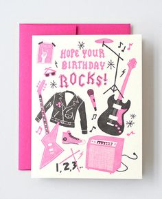 Rock On Letterpress Greeting Card designed by Julia Rothman for Hello!Lucky