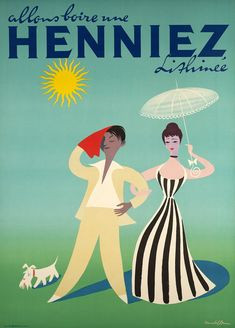 """Donald BRUN – Vintage poster – """"Let's drink a Henniez"""" A Swiss sparkling mineral water during this hot summer. Cute poster by Donald Brun finely printed in lithography on stone."""