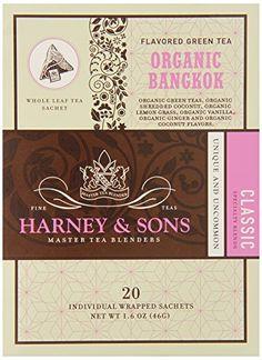 Harney & Sons Fine Teas Organic Bangkok - 20 Wrapped Sachets, 1.6 Ounce - http://goodvibeorganics.com/harney-sons-fine-teas-organic-bangkok-20-wrapped-sachets-1-6-ounce/
