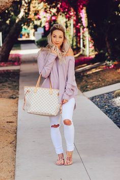 """Blondie in the city"""" urban outfitters violet sweater ripped white jean Casual Fall Outfits, Fall Winter Outfits, Autumn Winter Fashion, Spring Outfits, Casual Wear, Cute Outfits, Dress Outfits, Cute Sweater Outfits, Work Outfits"""