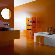 The Kartell by Laufen All Saints Mirror was designed by Roberto and Ludovica Palomba for the manufacturer Kartell. A Milan-based husband and wife team, Roberto Kartell, Contemporary Bathroom Accessories, Laufen Bathroom, Orange Bathrooms, Complete Bathrooms, Dream Bathrooms, Bathroom Trends, Bathroom Ideas, Bathroom Interior Design