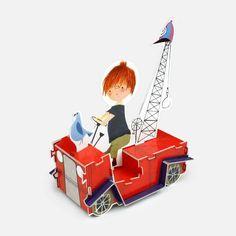 Superleuk bouwpakket van het beroemde rode kraanwagentje uit het boek 'Pluk van de Petteflet' van Annie M.G. Schmidt en Fiep Westendorp. Bouwplaat van 3Dcarton.com, gemaakt van stevig karton en makkelijk en snel in elkaar te zetten, € 8,95