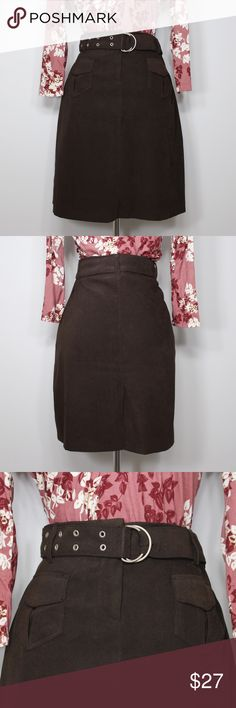 Vintage Brown Straight Line Skirt In great condition. Soft material. Great for Fall! Adjustable belt. No holes or stains. Comes from a smoke free environment. Measurements to be added. Skirts