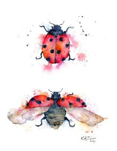 Ladybug Illustration - Ladybird Illustration - Watercolor print by MilkandHoneybread on Etsy