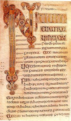 The Book of Durrow (Dublin, Trinity College Library, MS A. 4. 5. (57)) is a 7th-century illuminated manuscript gospel book in the Insular style. It was probably created between 650 and 700, in either Durrow or Northumbria in Northern England, where Lindisfarne or Durham would be the likely candidates, or on the island of Iona in the Scottish Inner Hebrides.