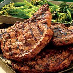 BBQ GRILLING #BBQ #Grilling Garlic-Crusted Rib Eye Steaks with Grilled Broccolini
